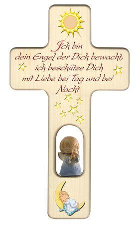 Kreuz für Kinder Schutzengel Gebet Engel blau Holz