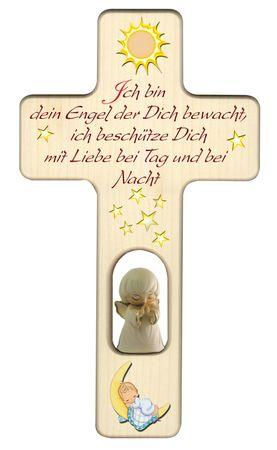 Kreuz für Kinder Schutzengel Gebet Engel rot Holz
