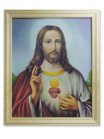 Wandbild Herz Jesu Holzrahmen 28 x 23 cm