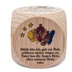 Gebetswürfel 6 Abendgebete Gute Nacht Gebete für Kinder 5,5 cm Holz – Bild 1