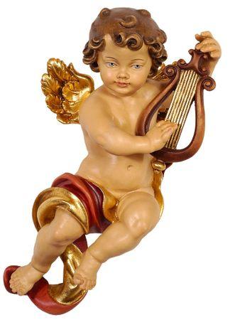 Putte Engelfigur Lyra Holz Figur handbemalt