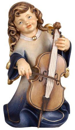 Putte Alpenengel mit Cello Holz Figur handbemalt