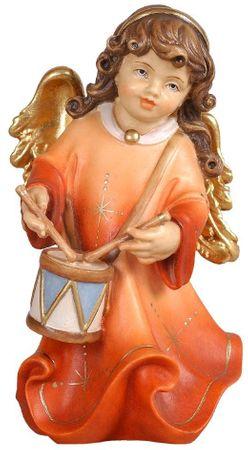 Putte Alpenengel mit Tamburin Holz Figur handbemalt