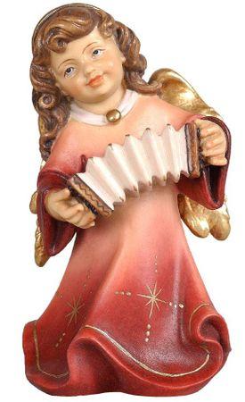 Putte Alpenengel Harmonika Holz Figur handbemalt