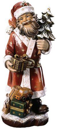 Weihnachtsmann Holz Figur handbemalt Südtirol Schnitzkunst