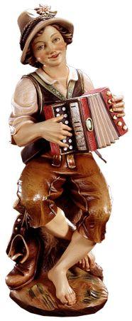 Junge mit Ziehharmonika Profane Holz Figur handbemalt