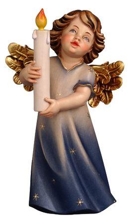 Engelfigur mit Kerze Holz Grödnertal handbemalt