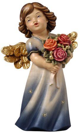 Engelfigur mit Rosen Holzschnitzerei handbemalt
