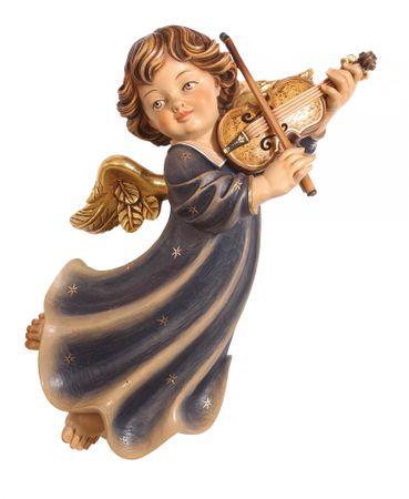 Putte Engelfigur mit Geige Holz Figur handbemalt