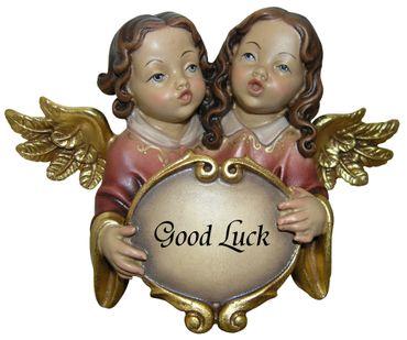 Putte Glückwunsch-Engel Holz Figur handbemalt