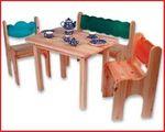 Kindertischgruppe 4-teilig, massive Kiefer 001