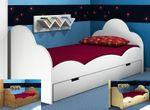 Einzelbett Bettie Dahlhaus Kiefer weiß, natur, blau, schwarz, gelaugt