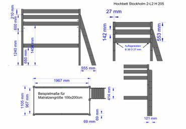 Hochbett Stockholm 2-L2, Dahlhaus, H205 cm,gerade Leiter,Kiefer natur – Bild 5