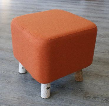 Design Birken Filz Fuß Hocker Loden Bank Stuhl Orange Birke Sitz
