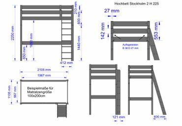 B-Ware Hochbett 90x200 Stockholm 2, H225cm,Kiefer,Dahlhaus – Bild 5