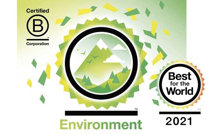 Auzeichnung Best for the World 2021 B Corporation