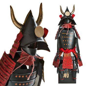 Samurai Warrior - black/red - Kuroda Clan Shogun Japanese Samurai Armor Miniature Statue
