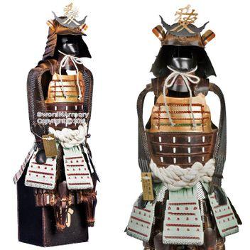 Samurai Krieger - braun/gold -  Kriegsherr Naoe Kanetsugu Shogun Japanische Samurai Rüstung Miniatur