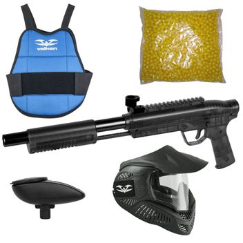 Valken Kids Gotcha Gun incl. MI-3 Mask, Chest Protector, Loader 120 & 500 Paintballs - cal. 50, 0.5 J - smoke