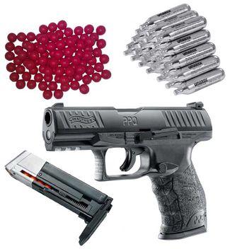 Walther PPQ M2 T4E RAM Pistole inkl. extra Magazin, 30x CO2 Kapseln und 50x Nylon Balls cal.43