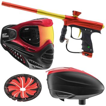 Proto Rize Maxxed rot/gold Paintball Markierer Sparpaket + Axis Maske + Dye LT-R Hopper + Quickfeed