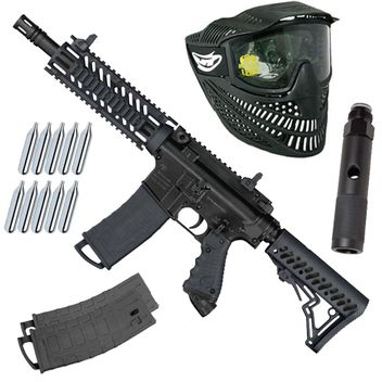 Tippmann TMC MagFed Paintball CO2 Set inkl. Maske & 2x Extra Magazinen - black