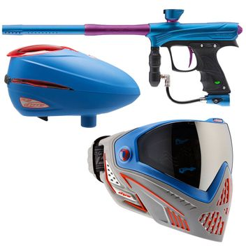 Proto MaXXed Rize - cyan/purple + Maske Dye I5 Patriot + Loader Dye R2 Rotor Patriot