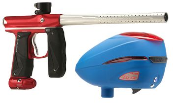 Paintball Marker Empire Mini GS dust red / silver + Dye R2 Rotor Loader Patriot