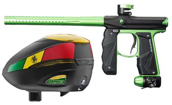 Paintball Markierer Empire Mini GS black / neon green + Dye R2 Rotor Loader Rasta