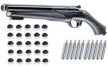 Umarex T4E HDS 68 Double Barrel Paintball Shotgun incl. 10x 12 Gramm CO2 Capsules & 25x Umarex T4E RBP 68 Rubberballs