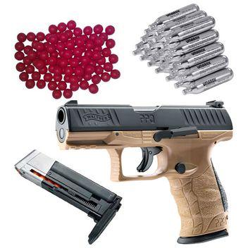 Walther PPQ M2 T4E RAM Home Defense Pistole FDE inkl. extra Magazin, 30x CO2 Kapseln und 50x Nylon Balls cal.43