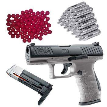 Walther PPQ M2 T4E RAM Home Defense Pistole Tungsten Gray inkl. extra Magazin, 30x CO2 Kapseln und 50x Nylon Balls cal.43