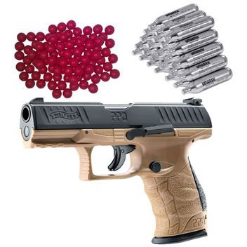 Walther PPQ M2 T4E RAM Home Defense Pistol FDE incl. 30x CO2 Capsules and 50x Nylon Balls cal.43