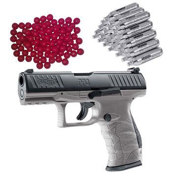 Walther PPQ M2 T4E RAM Home Defense Pistol Tungsten Gray incl. 30x CO2 Capsules and 50x Nylon Balls cal.43