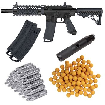Tippmann TMC Home Defence Paket cal.68 inkl. Quick Change Adapter, 20x CO2 Kapseln, 1x Mag Pack & 100 Rubberballs - black