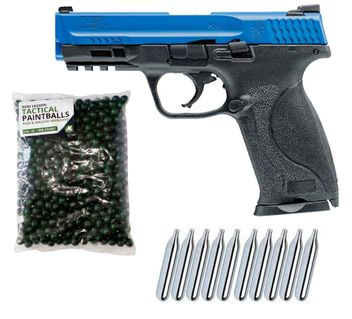 Smith & Wesson M&P9 2.0 T4E cal.43 Pistol LE - black/blue incl. 500 Paintballs cal.43 & 10x CO2 Capsules (12g)