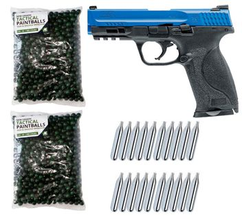 Smith & Wesson M&P9 2.0 T4E cal.43 Home Defense Pistole LE - black/blue inkl. 1000 Paintballs cal.43 & 20x CO2 Kapseln (12g)