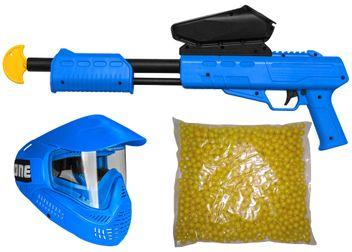 Blaster Kids Markierer Gotcha Gun / Shotgun cal. 50 (0.5 J) inkl. Loader, Maske & 500 Paintballs - blau