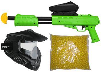 Blaster Kids Markierer Gotcha Gun / Shotgun cal. 50 (0.5 J) inkl. Loader, Maske & 500 Paintballs - lime