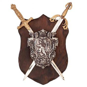 Wandschild Napoleon/El Cid mit Schild und 2 Schwertern