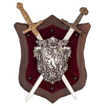 Wandschild Karl der Große/Napoleon mit Schild und 2 Schwertern