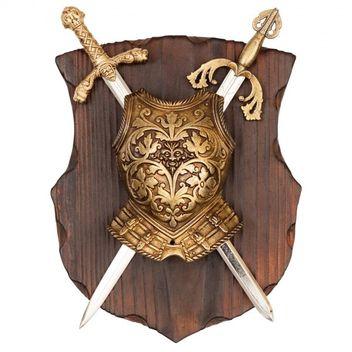 Wandschild Richard Löwenherz/El Cid mit Schild und 2 Schwertern