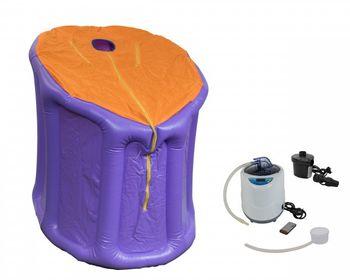Mini-Dampfsauna Svedana lila/orange mit elektronisch geregelten Dampferzeuger 2 Liter, 1000 Watt und drahtloser Fernbedienung
