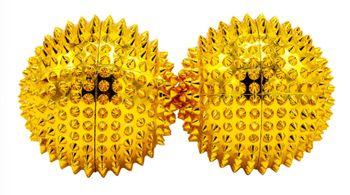 2 Magnetische Akupressurkugeln, Akupunkturkugeln - gold, groß, 55 mm