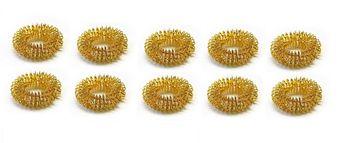 10 x Finger-Reflexzonen Akupressurring Massagering Farbe Gold, Yin groß