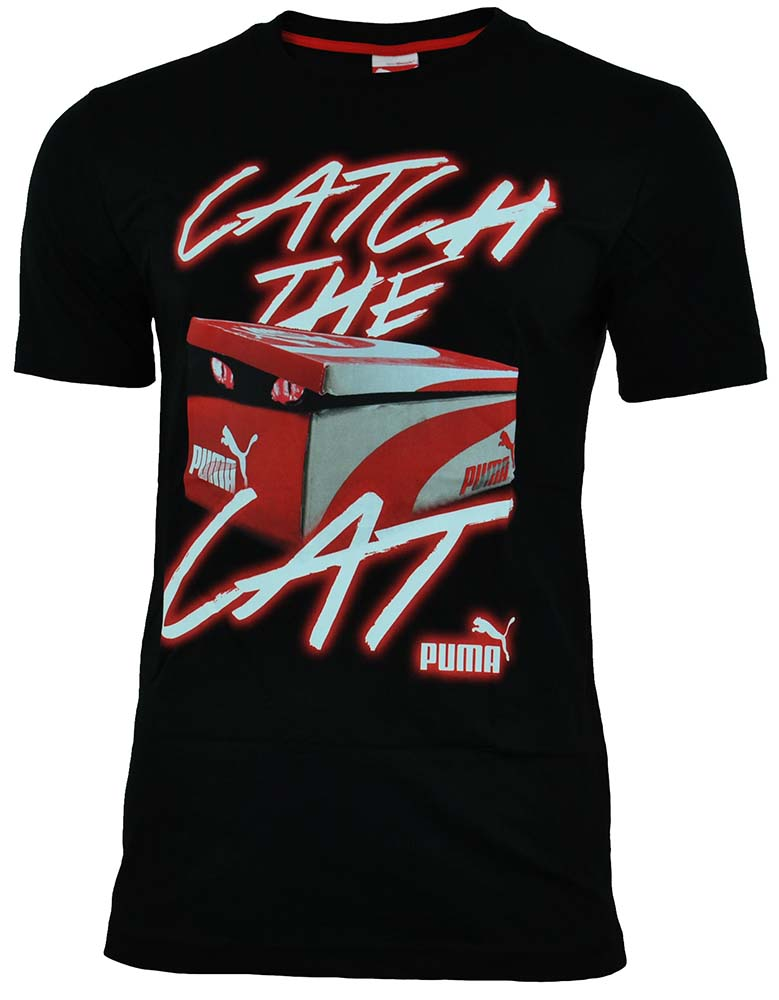 Puma Catch The Cat Tee Herren Training Sport Freizeit T-Shirt Schwarz