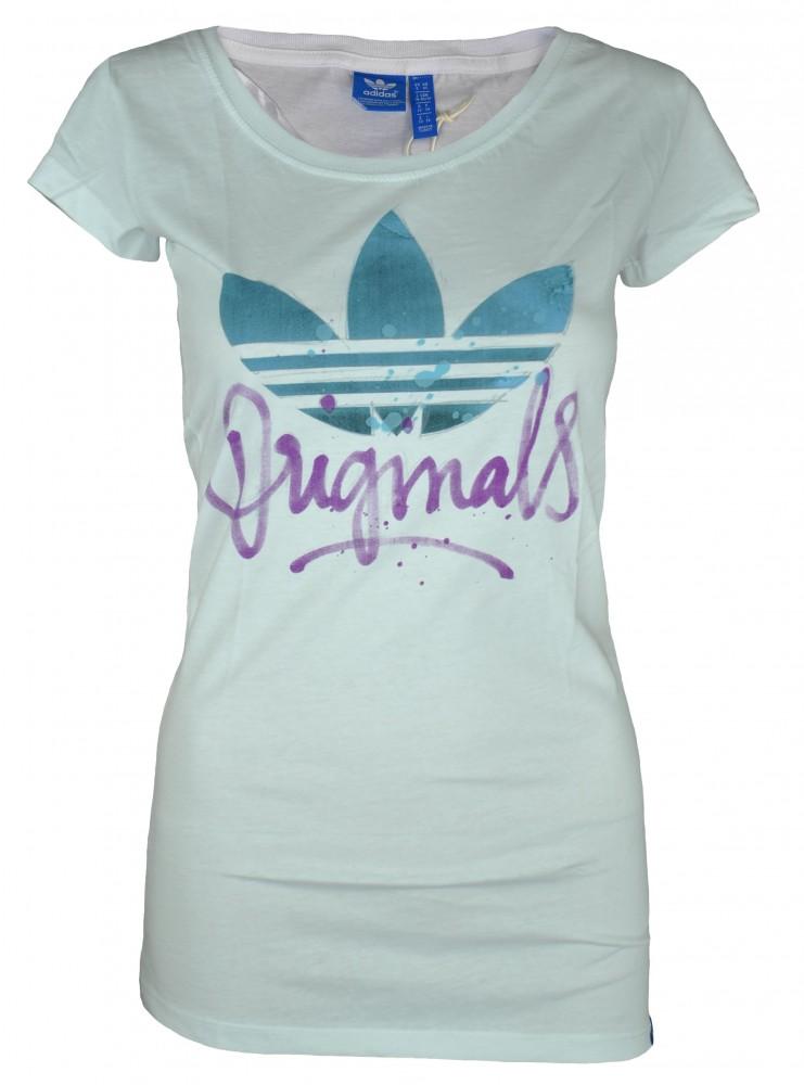 Adidas Script Trefoil Tee Womens Damen Originals Shirt T-Shirt Weiß – Bild 1