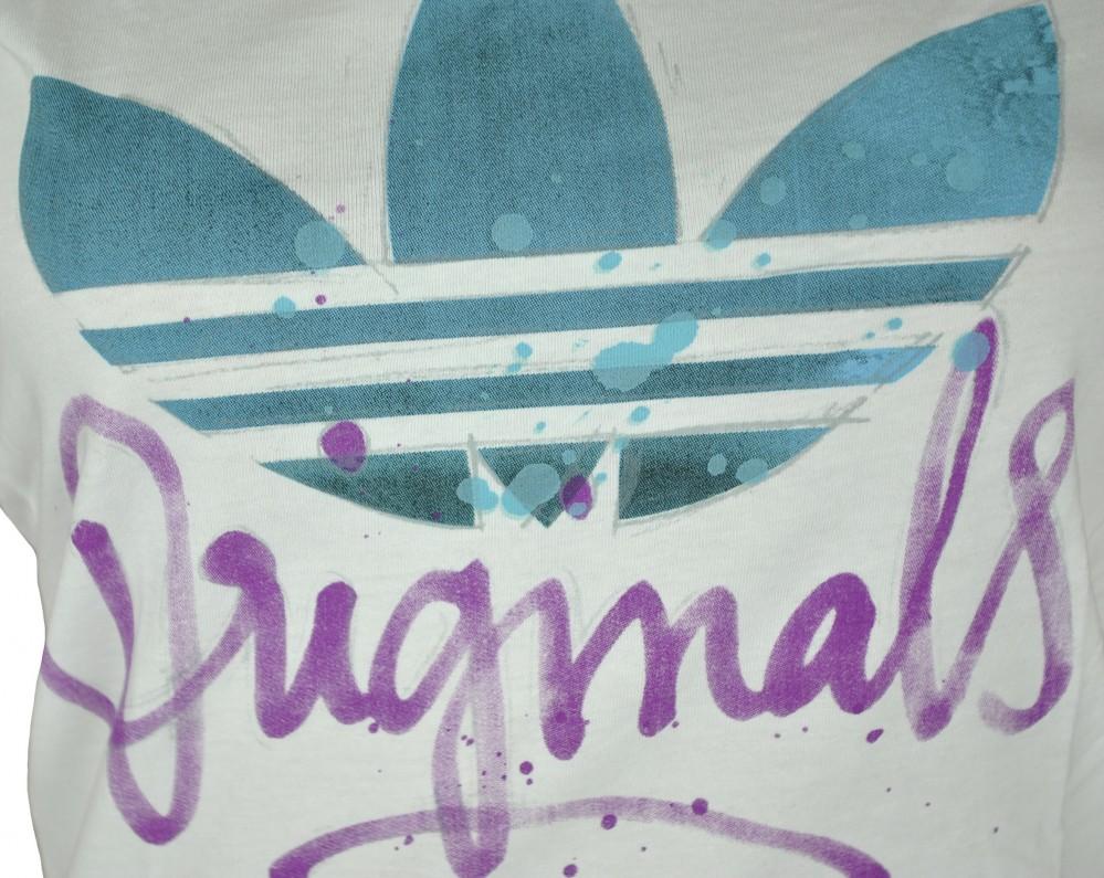 Adidas Script Trefoil Tee Womens Damen Originals Shirt T-Shirt Weiß – Bild 2