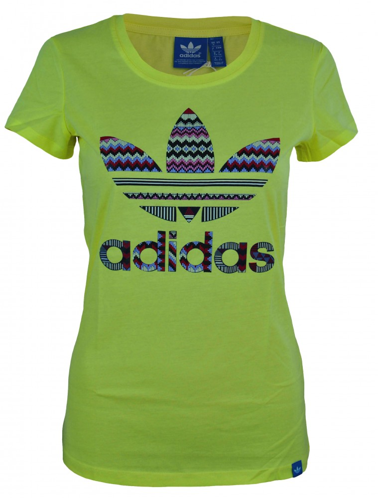 Adidas Graphic Trefoil Infill Tee Womens Damen Originals Shirt T-Shirt Gelb