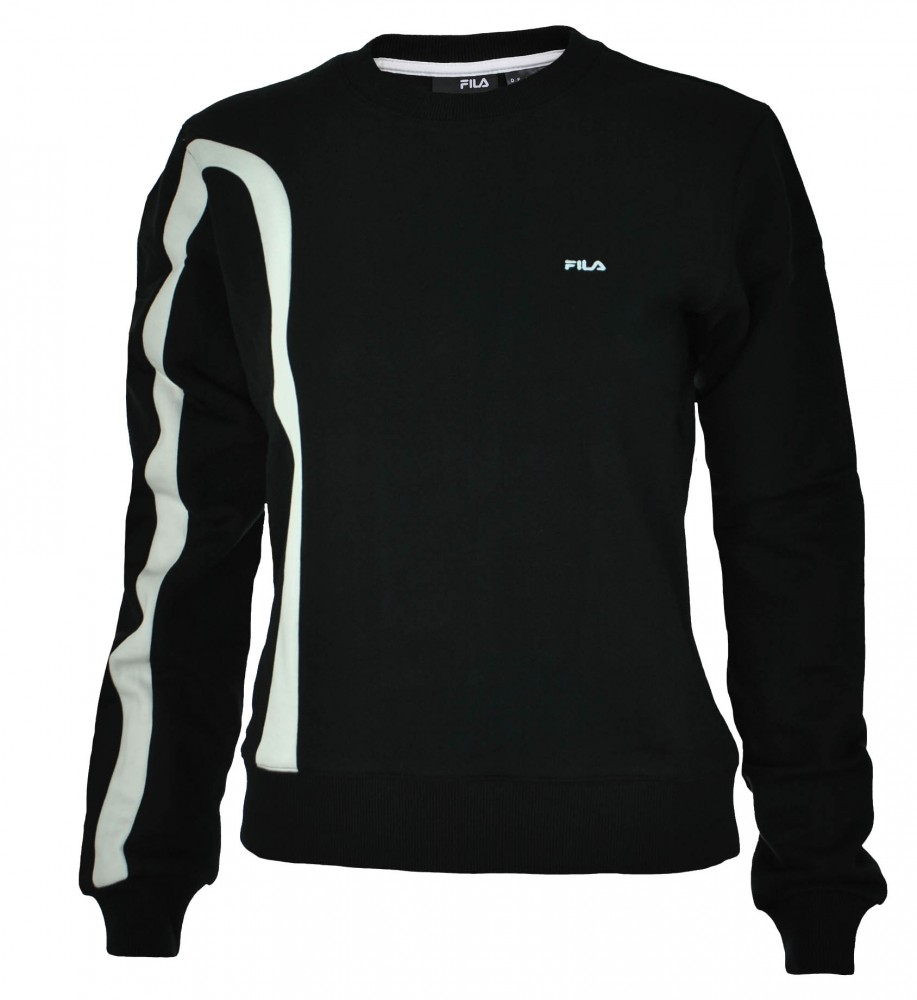 Fila Crew Neck Sweat Womens Damen Sport Freizeit Sweatshirt Schwarz